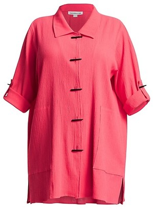 Caroline Rose, Plus Size Crinkle Cotton Long Shirt