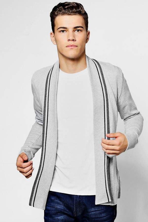 boohoo Edge To Edge Knitted Cardigan With Stripe Detail