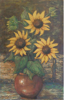 One Kings Lane Vintage Sunflowers by Mary Fisher - 1950s - McNaught Fine Art - yellow/green