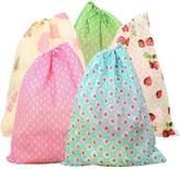 Elisona-10 Pcs Portable Foldable Dust-proof Non-woven Fabrics Travel Drawstring Shoe Storage Bag Pouch- Mixed Random Color