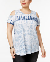 Style&Co. Style & Co Plus Size Cotton Tie-Dyed Off-The-Shoulder Top, Only at Macy's