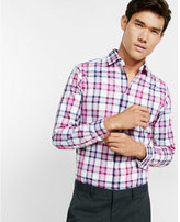 Express Fitted Plaid Long Sleeve Button Shirt
