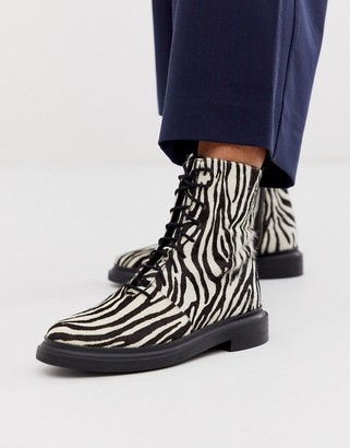Asos DESIGN Aniseed premium suede lace up ankle boots in zebra
