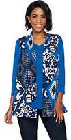 Susan Graver Printed Liquid Knit Vest Set withBack Buttons