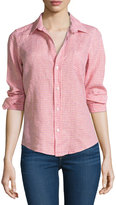 Frank And Eileen Checked Linen Long-Sleeve Top, Pink/Orange