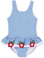 Florence Eiseman Stripe Seersucker Ruffle One-Piece Swimsuit w/ Flower Trim, Size 2-6X