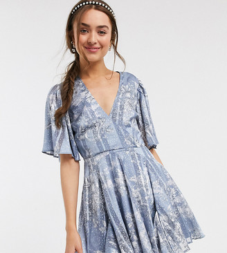 ASOS DESIGN Petite soft floral godet mini dress with jaquard foil print