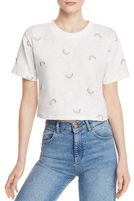Honey Punch Rainbow Embroidered Cropped Tee