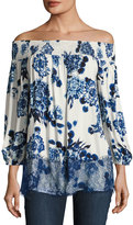 Neiman Marcus Off-the-Shoulder Floral-Print Top, White/Blue