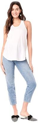 Loyal Hana Taylor Maternity Tank Top (White) Women's Clothing