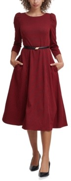 Calvin Klein Belted Houndstooth A-Line Dress