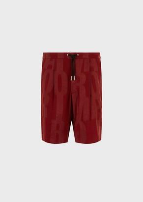 Giorgio Armani Jacquard Bermuda Shorts With Oversized, Deconstructed, Logo