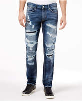 GUESS Men's Faded Ripped Slim Straight Fit Stretch Jeans