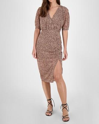 Express Bb Dakota Printed Wrap Midi Dress