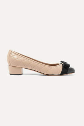 Salvatore Ferragamo Vara Bow-embellished Patent And Quilted-leather Pumps - Blush