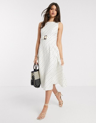 Ted Baker caryla a line belted spot midi dress in ivory