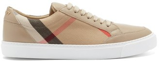 Burberry Salmond Check-panel Leather Trainers - Tan