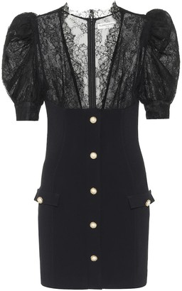 Alessandra Rich Lace-trimmed crepe minidress