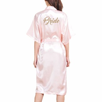 WEIMEITE Women's Long Bridal Robe Wedding Kimono Robe for Bride Wedding Party Dressing Gown Pink S