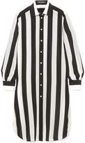 Dolce & Gabbana Striped Silk Crepe De Chine Shirt - Black
