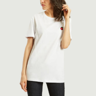 Bricktown World - White Cotton Apple T Shirt - cotton | white | s - White/White