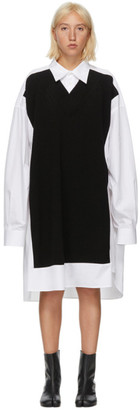 Maison Margiela White and Black V-Neck Sweater Shirt Dress