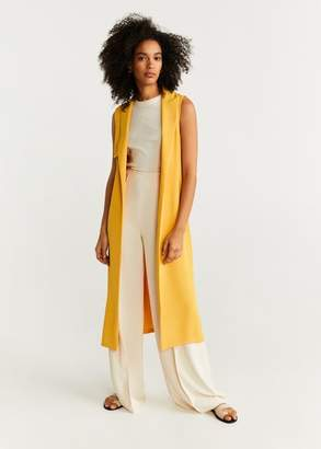 MANGO Belt long gilet mustard - XS - Women