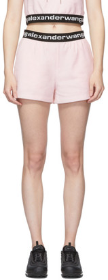 Alexander Wang Pink Stretch Logo Shorts