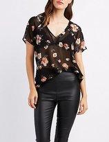 Charlotte Russe Floral Chiffon T-Shirt