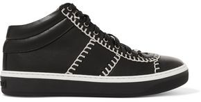 Jimmy Choo Bells Chain-trimmed Leather Sneakers