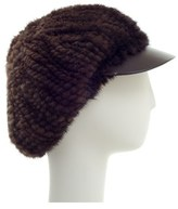Surell Mink Knitted Cabbie Hat With Visor.