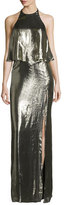 Halston Metallic Jersey Halter Popover Gown, Antique Brass