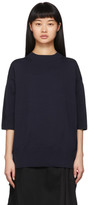 Sacai Navy Knit Chiffon Hem Sweater