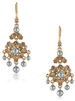Carolee 12K Goldplated 5MM Faux Pearl Mini Chandelier Earrings