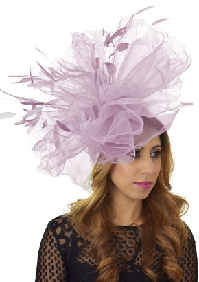 Hats By Cressida Womens Occasion Miladhoo Large Lilac Ascot Derby Fascinator Hat - with Headband