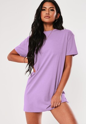 Missguided Lilac Basic T Shirt Dress