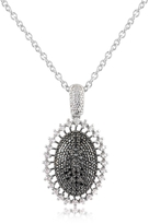 Forzieri Azhar Black Cubic Zirconia and Sterling Silver Oval Pendant Necklace