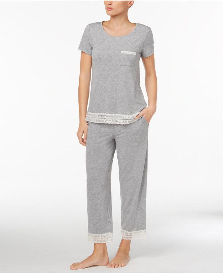 Alfani Lace-Trimmed Knit Pajama Set, Created for Macy's