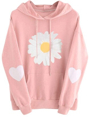 Lfore Womens Long Sleeve Daisy Heart Hoodie Sweatshirt Autumn Winter Oversized Jumper Hooded Drawstring Pullover Tops Blouse with Side Pockets Under 10 pounds Birthday Card for her Pink