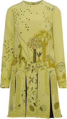 Valentino Pleated Printed Silk Crepe De Chine Mini Dress