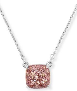 "Kate Spade Glitter Crystal Square Pendant Necklace, 17"" + 3"" extender"
