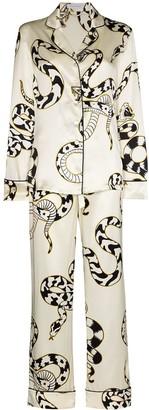 Olivia von Halle Lila Sassoon snake-print silk pyjamas