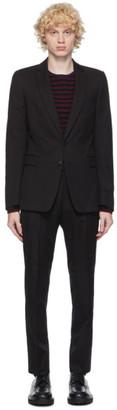 Dries Van Noten Black Cotton and Wool Straight Suit