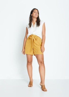 MANGO Violeta BY 100% lyocell shorts mustard - S - Plus sizes