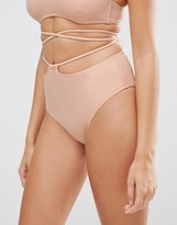 Asos Tie Cut Out High Waist Bikini Bottom