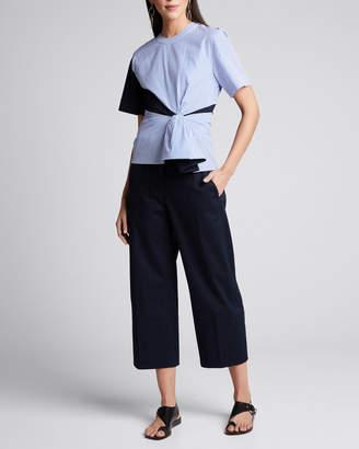 Cédric Charlier Cotton Gabardine Pleated Trousers