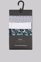 Moss Bros Black & White 3 Pack Pocket Squares