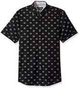 Bugatchi Men's Shaped Printed Symbol Spread Collar Short Sleeve Shirt