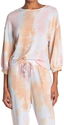 Know One Cares 3/4 Length Sleeve Tie Dye Print French Terry Top