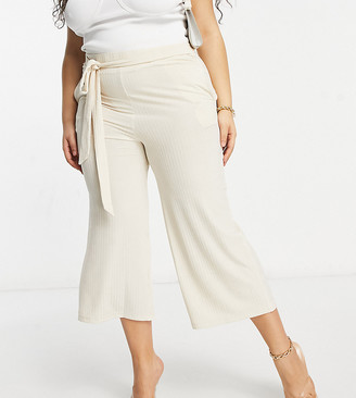 Lasula Plus ribbed wide leg trouser in beige